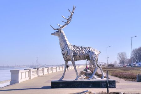 city coat of arms: NIZHNY NOVGOROD, RUSSIA - March 14.2015: Sculpture of deer from the coat of arms of city Editorial