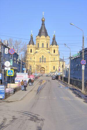 nevsky: NIZHNY NOVGOROD, RUSSIA - March 14.2015: Cathedral of Saint  Alexander Nevsky
