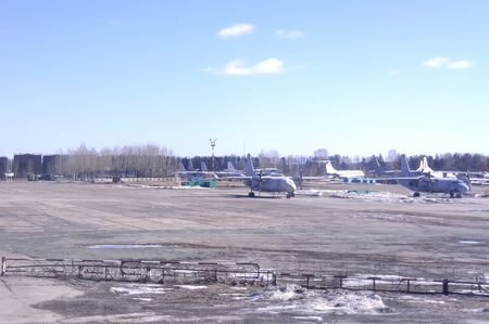 transitional: YEKATERINBURG, RUSSIA - March 23.2015: Maintenance works on the aircraft parking at the airport Koltsovo Editorial