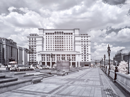 ir: MOSCOW. RUSSIA - June 25.2014: Historical center of city. Manezhnaya Square. Infrared photo