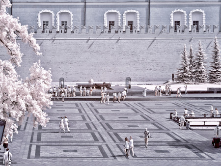 ir: MOSCOW. RUSSIA - June 25.2014: Historical center of city. Kremlin and Alexander Garden. Infrared photo Editorial