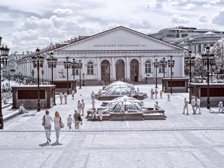 sights of moscow: MOSCOW. RUSSIA - June 25.2014: Historical center of city. Manezhnaya Square. Infrared photo