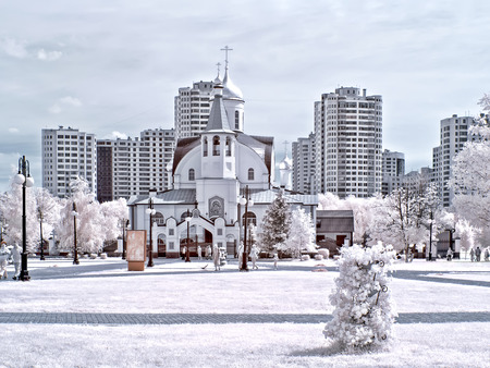 ir: REUTOV. RUSSIA - June 25.2014: Church of the Kazan Mother of God. Reutov. Infrared photography