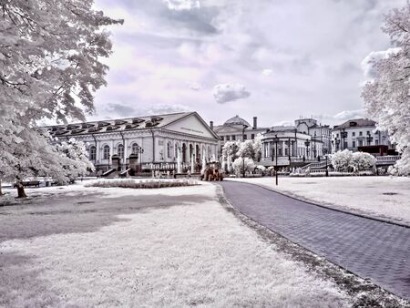 ir: MOSCOW. RUSSIA - June 25.2014: Historical center of city.  Alexander Garden. Infrared photo Editorial