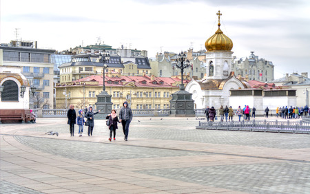 sights of moscow: MOSCOW, RUSSIA - March 28.2015: Territory of complex Temple of Christ the Savior Editorial