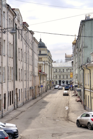 merchant: MOSCOW, RUSSIA - March 28.2015: Lebyazhiy bystreet with ancient merchant mansions in the historical center of city