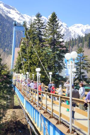 dombay: DOMBAY, RUSSIA - May 03.2015: Dombai Glade. The settlement in the Caucasus Mountains, skiing resort