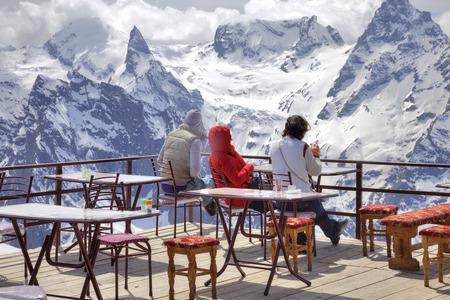 openly: Interior of verandah of alpine cafe on mountain Mussa-Achitara