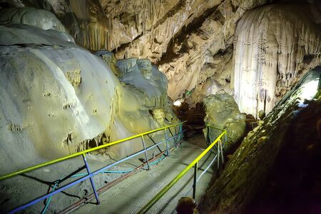 abyss: Inside the New Athos huge karst caves. Anakopia abyss Stock Photo