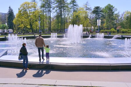 sights of moscow: MOSCOW, RUSSIA - May 05.2015: Oldest recreation Sokolniki Park in the city