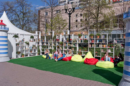 book racks: MOSCOW, RUSSIA - May 05.2015: Free Public Library in the area of Sokolniki