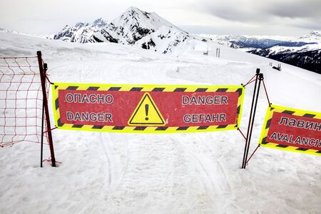 alpine zone: Pass No. Dangerous area. Area of tails of snow avalanches