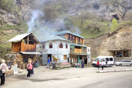 narrowly: CAUCASUS, RUSSIA - May 02.2015: A small roadside cafe in the Chegem gorge Editorial