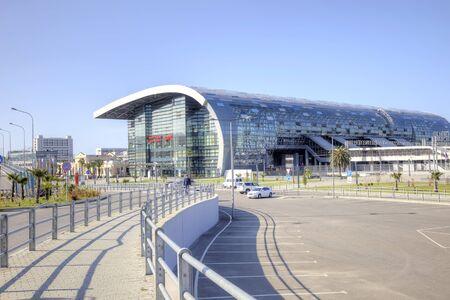 SOCHI, ADLER, RUSSIA - April 28.2015: Modern building of the municipal railway station