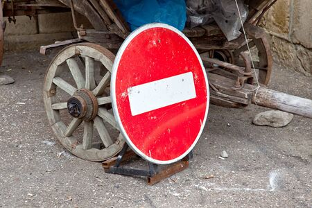 no entry: No Entry sign on a rural cart Stock Photo