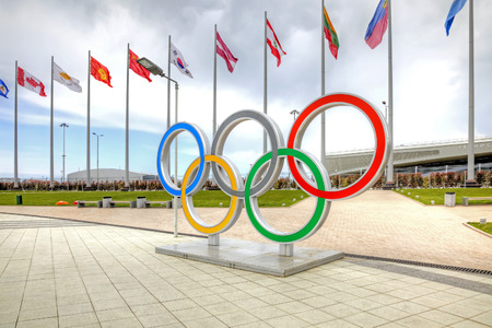olympic symbol: CAUCASUS, SOCHI, RUSSIA - April 27.2015: Symbol of olympic games, set on the Olympic area Editorial