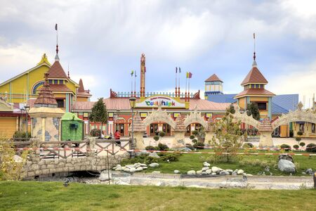first sight: CAUCASUS, SOCHI, RUSSIA - April 27.2015: First in Russia thematic park of entertainments. Located next to the sports competition stadiums and already became sight Editorial