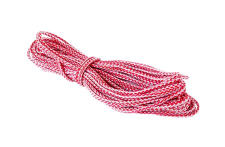 convolute: Hank of red synthetic rope is isolated on a white background