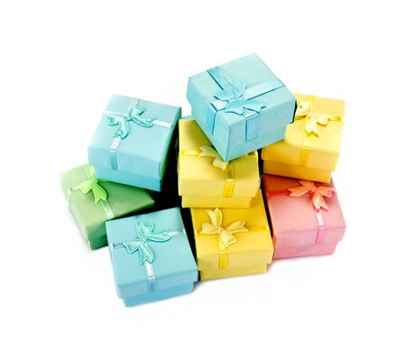varicoloured: Varicoloured small boxes for gifts are isolated on a white background
