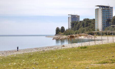 climatic: Sanatorium-resort complex ashore the Black sea. The city beach and promenade climatic resort