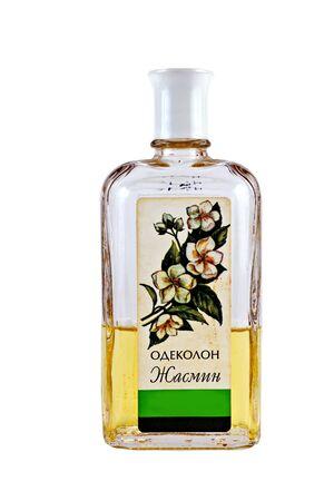 phial: EAU DE COLOGNE JASMINE WITH LABEL - July 05.2015: Small bottle with the old Soviet eau de cologne of Jasmine factories Novaya Zarya Editorial