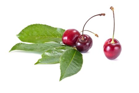 gean: Ripe berry of sweet cherry it is isolated on a white background