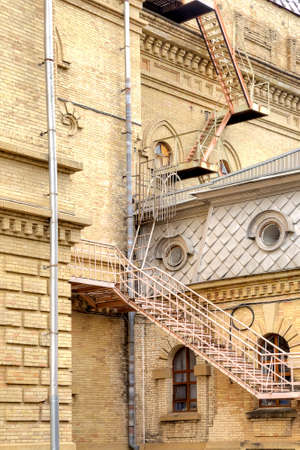 emergency stair: Pompier on the roof of building of Philharmonic in city Kislovodsk Stock Photo