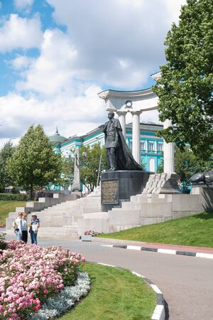 liberator: MOSCOW, RUSSIA - July 22.2015: The territory of the park next to the Cathedral of Christ the Savior. The monument to Emperor Alexander II Liberator