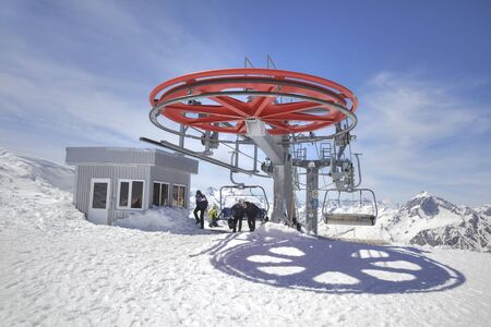 top down car: DOMBAY, RUSSIA - May 03.2015: Station of Aerial lift on a mountain Mussa-Achitara