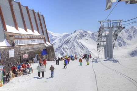 elbrus: CAUCASUS, RUSSIA - May 01.2015: Station of Aerial lift on a mountain Elbrus. First level