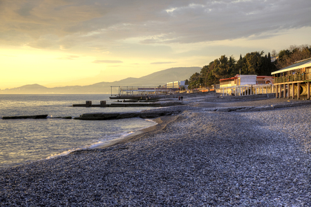 on the black sea: Marine beach in city Adler in the evening Stock Photo