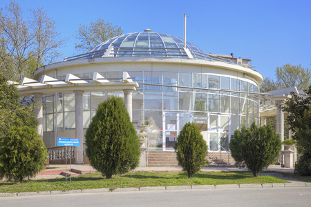 drinkable: SOCHI, ADLER, RUSSIA - April 28.2015: Drinkable pump-room with mineral water in Lenin Street in the resort zone of city Editorial
