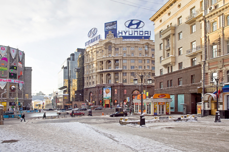 sights of moscow: MOSCOW, RUSSIA - January 01.2010: Crossroads Tverskaya Street and Kamergersky lane. Facades of old houses