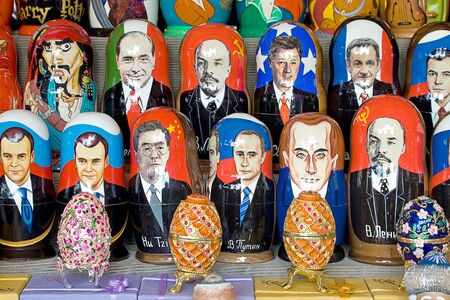 matryoshka doll: MOSCOW, RUSSIA - January 01.2010: Souvenir Matryoshka doll with the picture of the known politicians