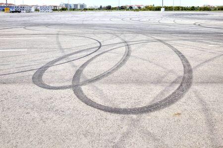 braking: Imprints of tires from the sharp braking of car
