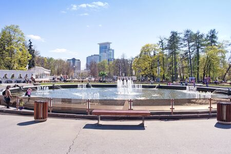 city park fountain: MOSCOW, RUSSIA - May 05.2015: Oldest recreation Sokolniki Park in the city. On the Fountain Square