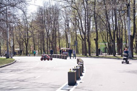 sights of moscow: MOSCOW, RUSSIA - May 05.2015: Oldest recreation Sokolniki Park in the city. An avenue is in a park Editorial