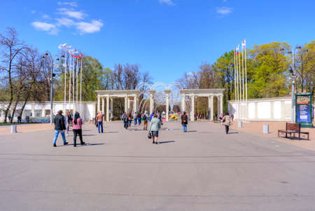 visitors area: MOSCOW, RUSSIA - May 05.2015: Oldest recreation Sokolniki Park in the city