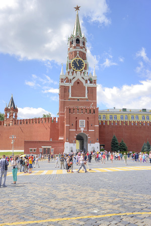 spasskaya: MOSCOW, RUSSIA - July 08.2015: Spasskaya tower with chimes on the Red Square