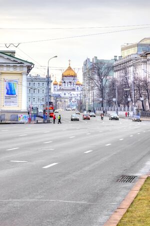 sights of moscow: MOSCOW, RUSSIA - January 01.2014: City landscape. Mokhovaya Street in the historical center of Moscow