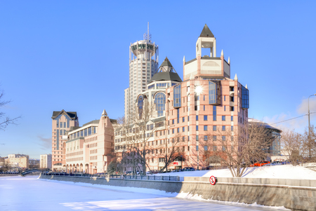 sights of moscow: MOSCOW, RUSSIA - January 21.2014: Modern office complex on the Shlyuzovoy embankment Vodootvodny channel