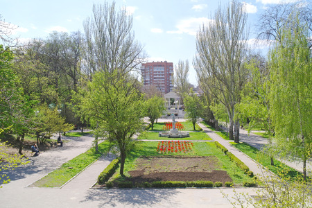 gorki: ROSTOV-ON-DON, RUSSIA - April 26.2010: View of the avenue of the city of Gorky Park from a height