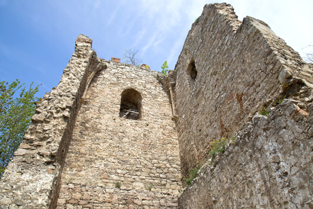 relict: Ruins of the former ancient Genoese fortress. Tower of saint Konstantin in city Feodosia Stock Photo