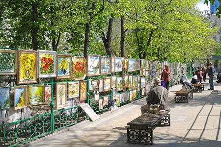 gorky: ROSTOV-ON-DON, RUSSIA - April 26.2010: Exhibition and sale of paintings in Gorky Park Editorial