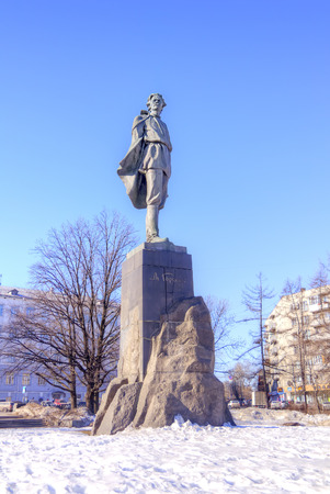 dramatist: NIZHNY NOVGOROD, RUSSIA - March 14.2015: Monument to the writer Maxim Gorky in city park