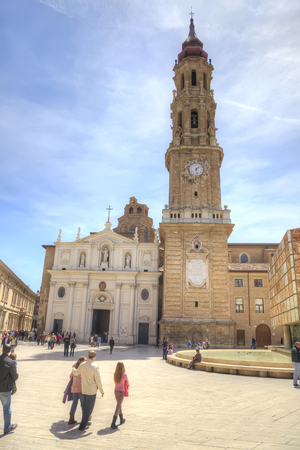 SARAGOSSA, SPAIN - May 4.2014: Old Cathedral of San Salvador and the monument of Goya in the historical center of city