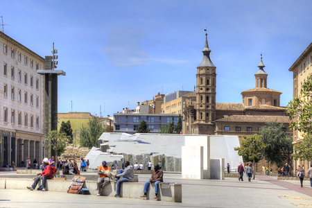 entertaining area: SARAGOSSA, SPAIN - May 4.2014: Main municipal area Plaza del Pilar in a historical center