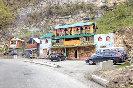 narrowly: CAUCASUS, RUSSIA - May 02.2015: A small roadside cafe in the Chegem gorge Stock Photo