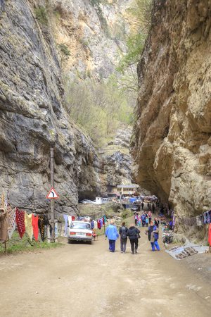 narrowly: CHEGEM CANYON, CAUCASUS, RUSSIA - May 02.2015: Road to the Chegem gorge Editorial