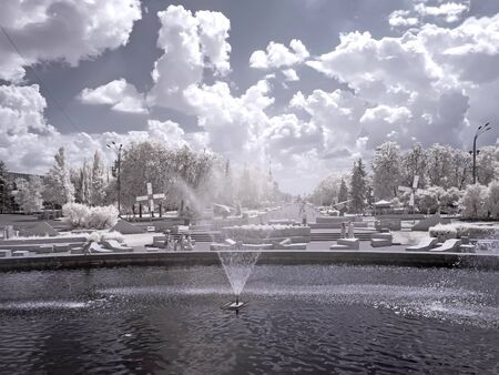 sights of moscow: MOSCOW, RUSSIA - May 27.2014: Infrared Photography. Territory of All-Russian Exhibition Center